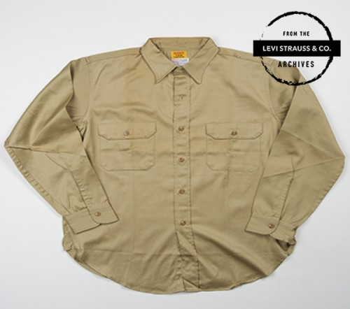 Levi's® Tab Twills yellow label Men's shirt Six-Gun label Cramerton Burlington 6 oz combed twill Sanforized sold by Gayley & Lord khaki color circa 1958.