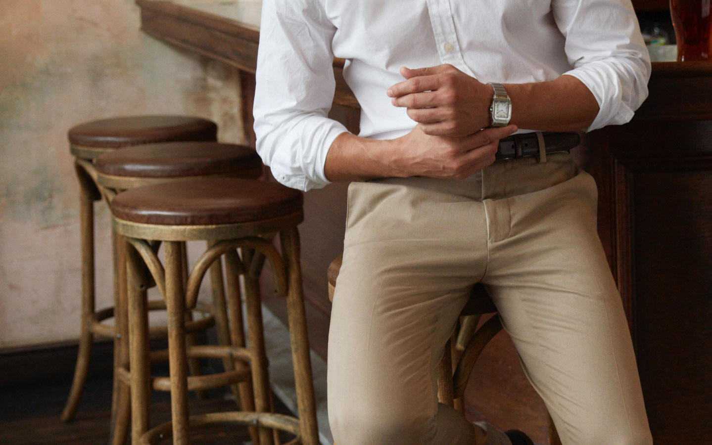 Man Wearing Dockers Khaki Pants